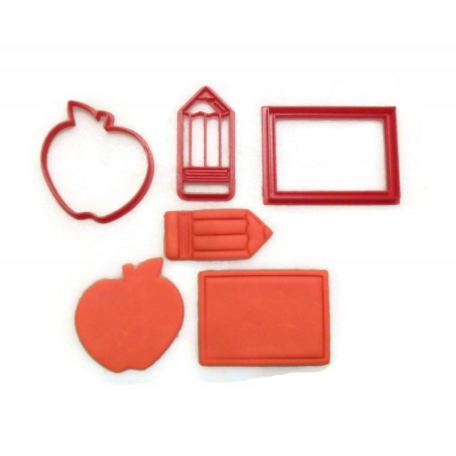Back to School Apple Chalkboard Pencil cookie cutter fondant cutter set