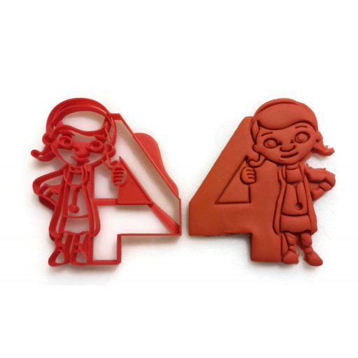 Doc McStuffins Cookie Cutter holding the number 4. Perfect for your kid's 4th birthday. Throw them a Doc themed party for their fourth