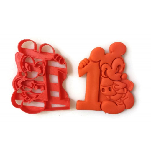 Mickey Mouse Cookie Cutter for your 1 Year Birthday. Number One. 1st year. Dishwasher safe ABS plastic. Great for cookies, fondant, Play-Doh