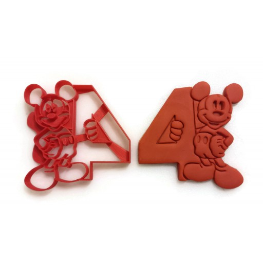 Mickey Mouse Cookie Cutter. Holding the number 4 for fourth year birthday. 4th year cookie cutter works great for cookies, Play-Doh, fondant
