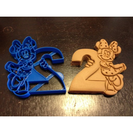 Minnie Mouse Cookie Cutter holding the number 2 from Mickey Mouse Clubhouse