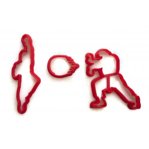 Street Fighter 2 Ken and Ryu with Fireball cookie cutter fondant cutter set