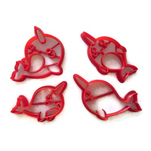 Kawaii Narwhal cookie cutter fondant cutter set