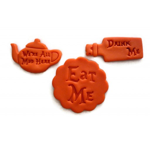 Alice in Wonderland Through the Looking glass eat me we're all mad here drink me cookie cutter set