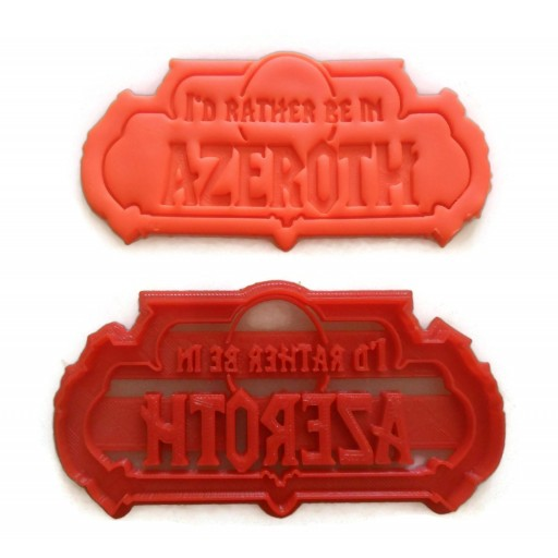 WOW World of Warcraft I'd rather be in Azeroth Cookie cutter Fondant cutter