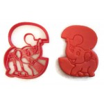 Elephant by the number 3 birthday cookie cutter fondant cutter