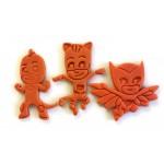 PJ Masks Cookie Cutters. Cat Boy, Gekko, and Owlette character cookie cutter set