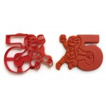 Power Rangers Cookie Cutter next to the number 5. Perfect for your kid's 5th year birthday party. Celebrate their fifth with the rangers!