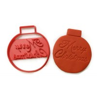 Merry Christmas Ornament cookie cutter fondant cutter