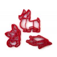 Corgi Dog 3 piece cookie cutter fondant cutter set