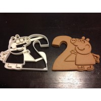 Peppa Pig Cookie Cutter holding the number 2. Perfect for their 2nd year birthday party!